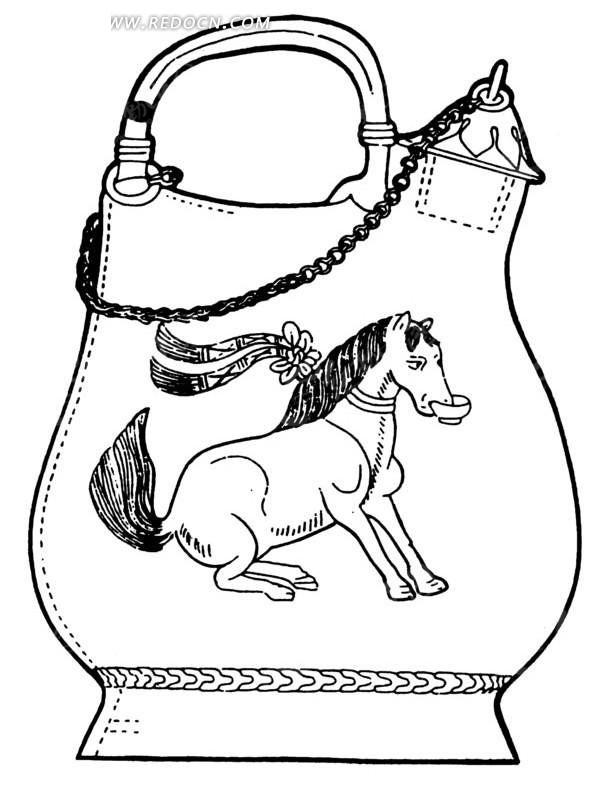 绘有一匹半蹲衔碗的古代;; 3768x4928 1.图片