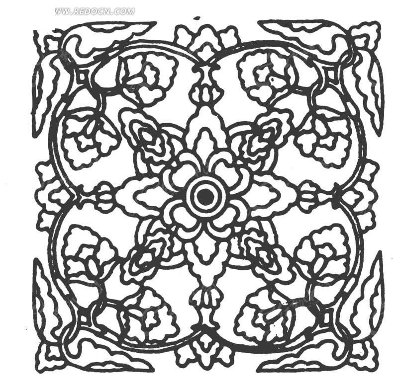 中国古典图案-花朵构成的方形图案图片