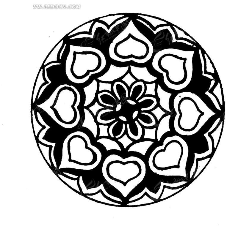 中国古典图案-花朵花瓣构成的圆形图案