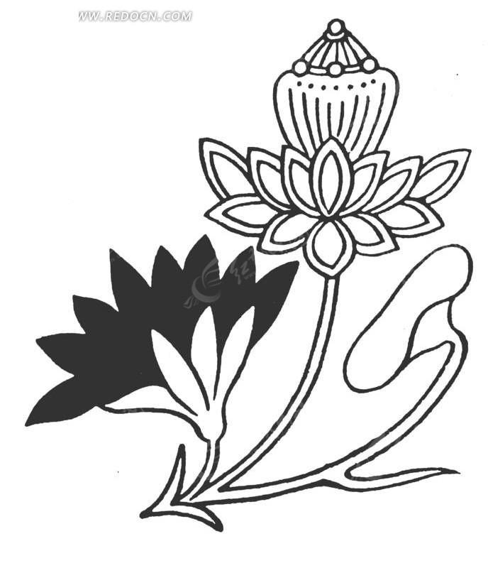 中国古典图案-花朵花蕊和叶子构成的图案