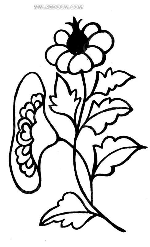 中国古典图案-花朵和叶子构成的简洁图案