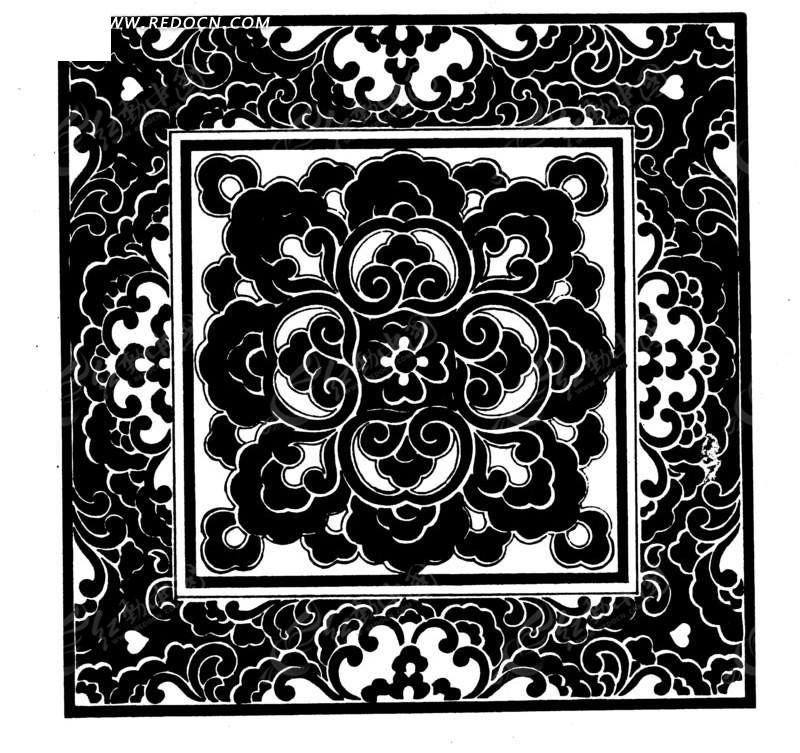 中国古典图案-花朵构成的精美华丽的方形图案图片
