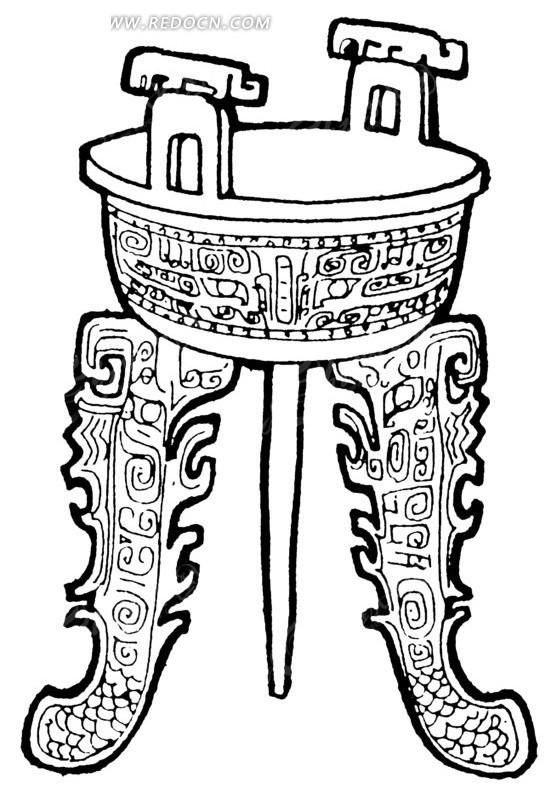 线描青铜鼎