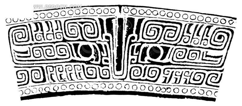 中国古典图案-卷曲纹兽头和圆形构成的图案