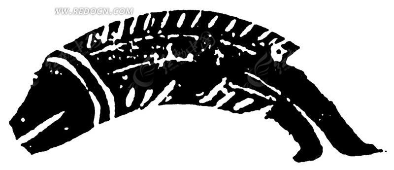 古代黑白色鱼形元素ai免费下载_传统图案素材_编号_红图片