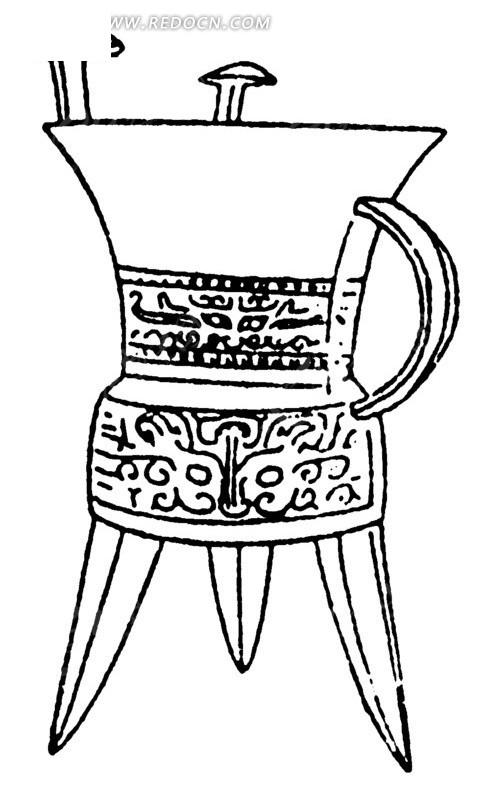 手绘古代三角酒杯