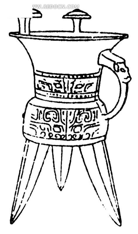 手绘古代带图案的三角酒杯