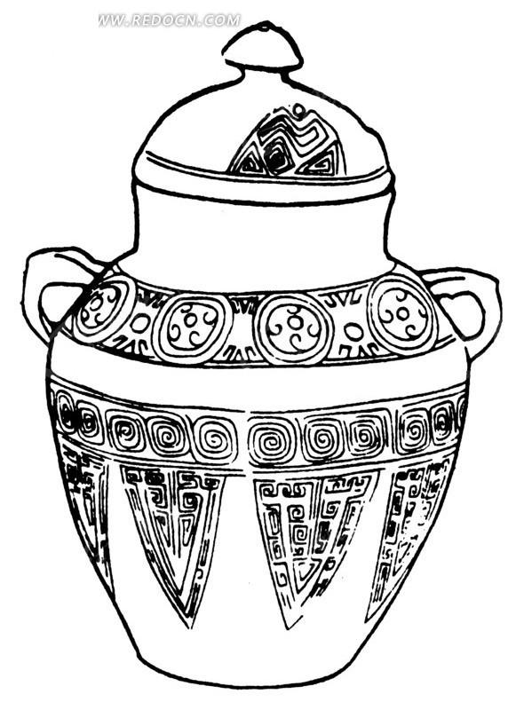手绘带花纹的陶瓷器
