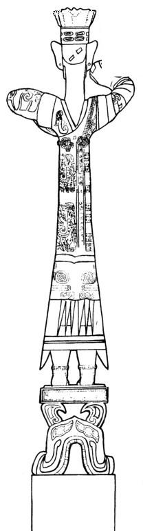 中国古典图案-站立的衣服带凤纹的男子的背影