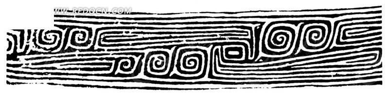 中国古典图案-回纹和线条构成的花边