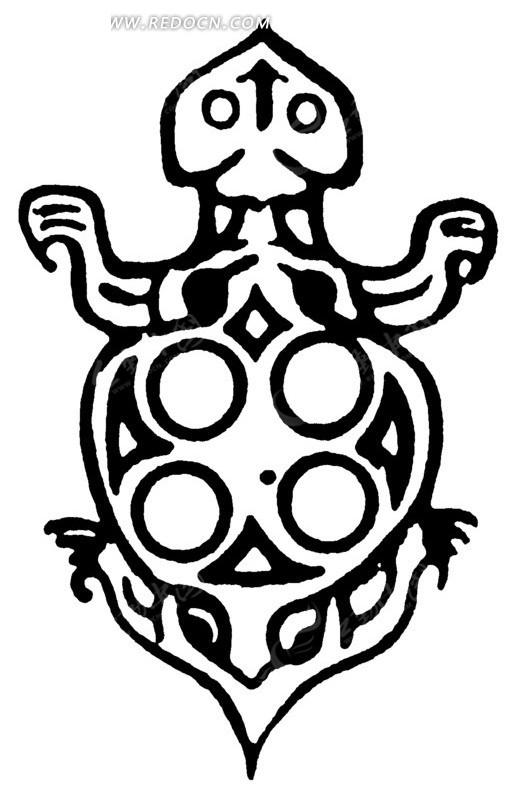 圆形 几何形 乌龟 图案 装饰 中国风 中国古典 艺术 黑白 传统图案 矢图片