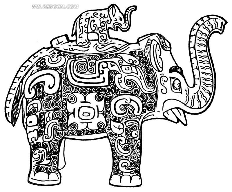 装饰黑白纹理大象ai素材免费下载_红动网图片
