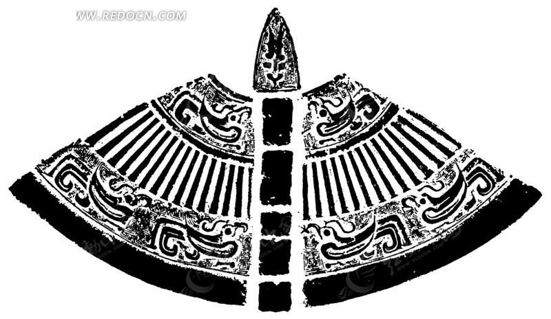 中国古典图案-抽象凤纹和竖纹构成的扇形