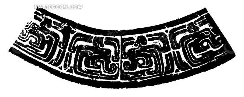 扇形古代装饰花纹矢量素材矢量图_传统图案