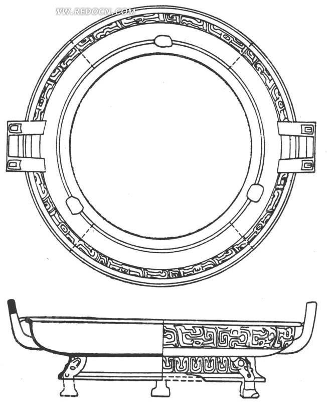 手绘陶瓷盘剖面图矢量图_传统图案