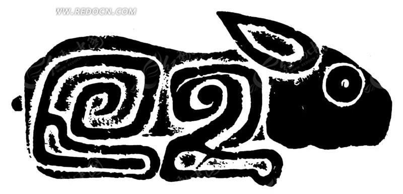 中国古典图案-螺旋纹构成的兔子矢量图;图片