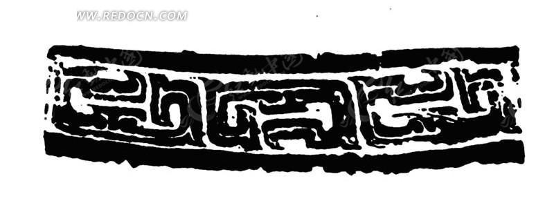 黑白拓印传统花纹花边图案