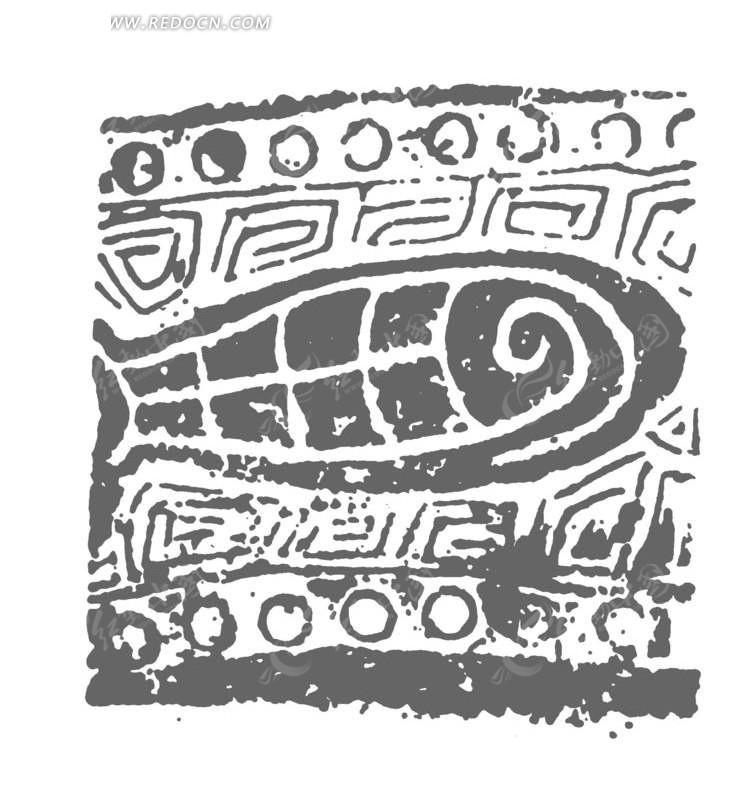 青铜器抽象装饰鱼纹理矢量图案图片