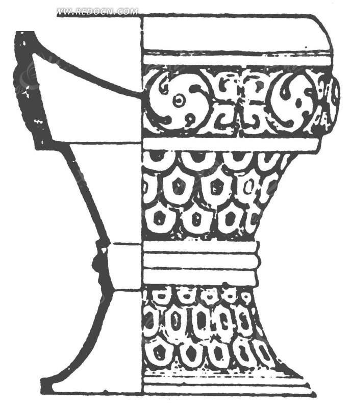 古代青铜器手绘素材矢量图ai免费下载_传统图案