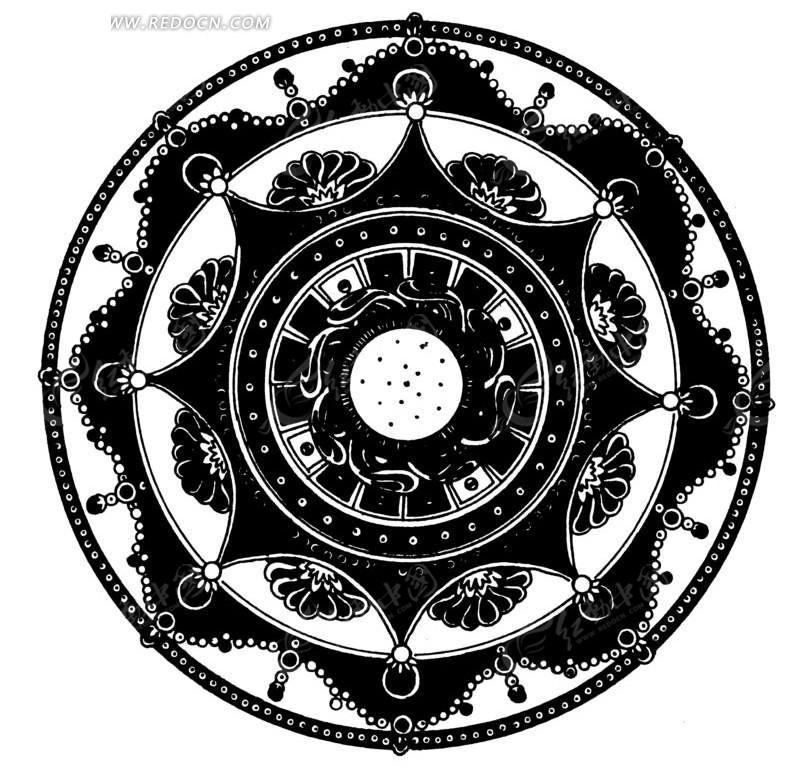 中国古典图案-花朵和几何形构成的圆形图案