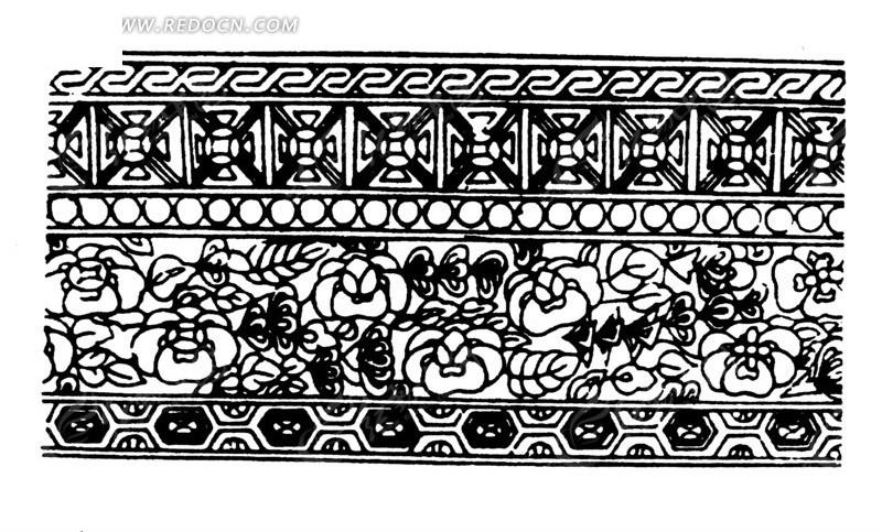 黑白花纹古典边框素材