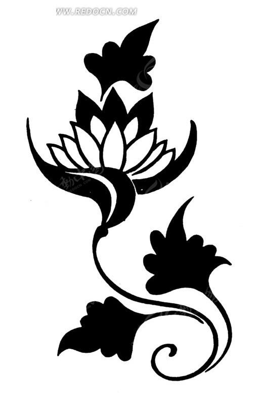免费素材 矢量素材 艺术文化 传统图案 黑白莲花花纹矢量素材  请您