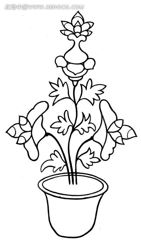 黑白插画盆载花卉矢量图