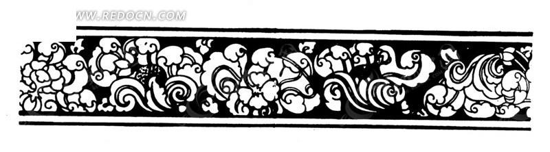 黑白传统线条花纹矢量图案; 中国古典图案-卷曲纹和花朵构成的精美的