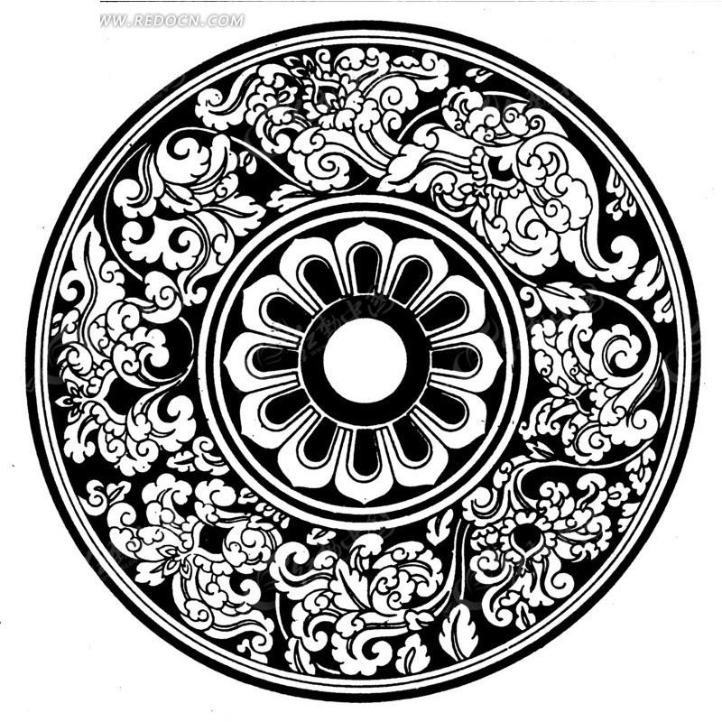 古典圆形花纹素材矢量图_传统图案图片