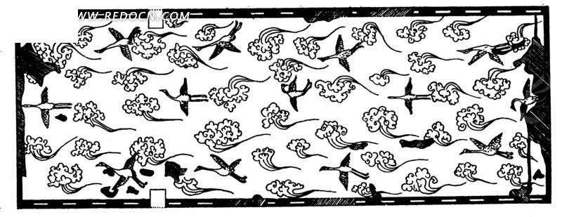 仙鹤和云纹组成古典图案