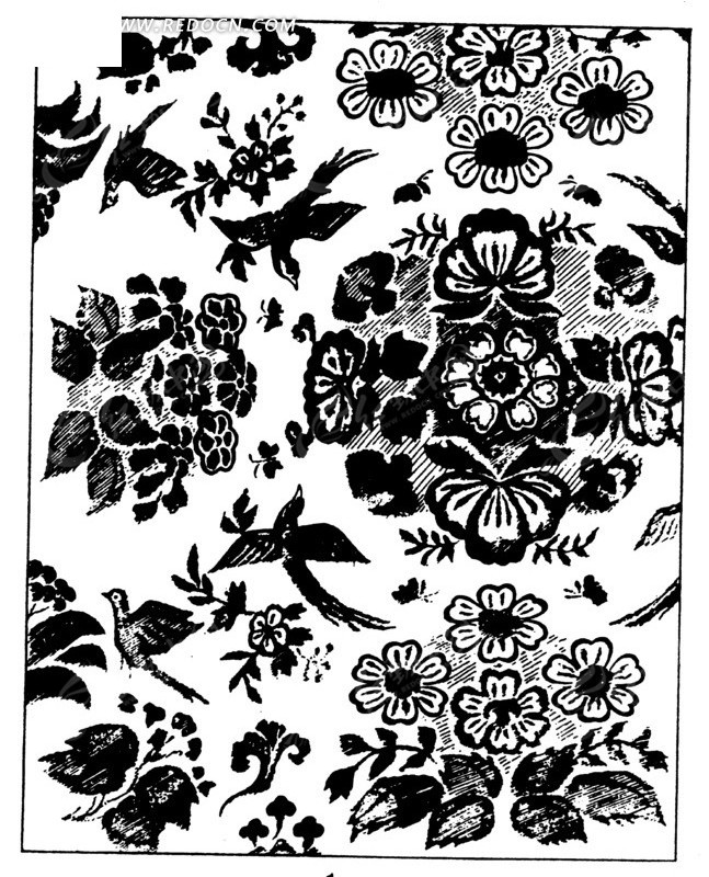 黑白古典传统花纹矢量素材