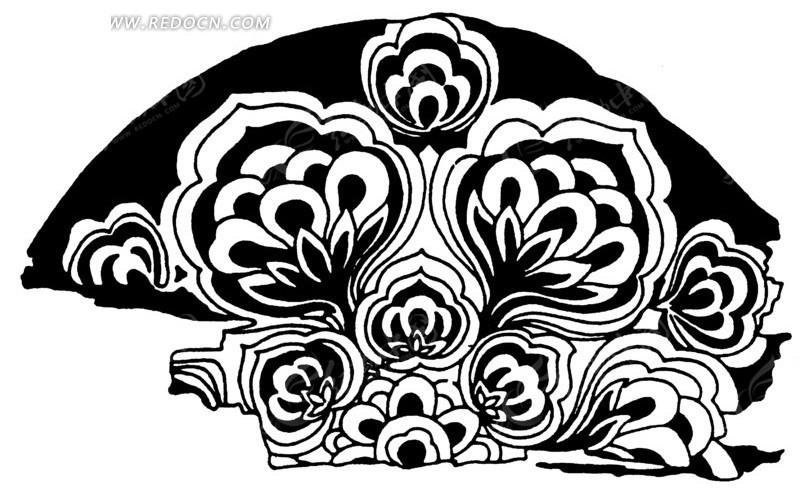 黑白花朵底纹矢量素材