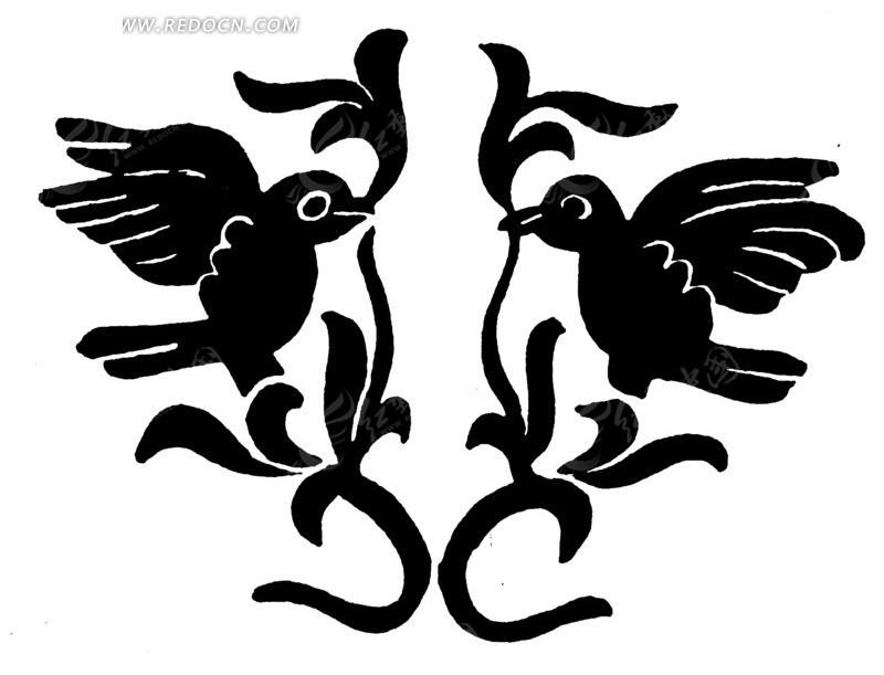 喜鹊��h�_手绘一对口叼藤叶喜鹊