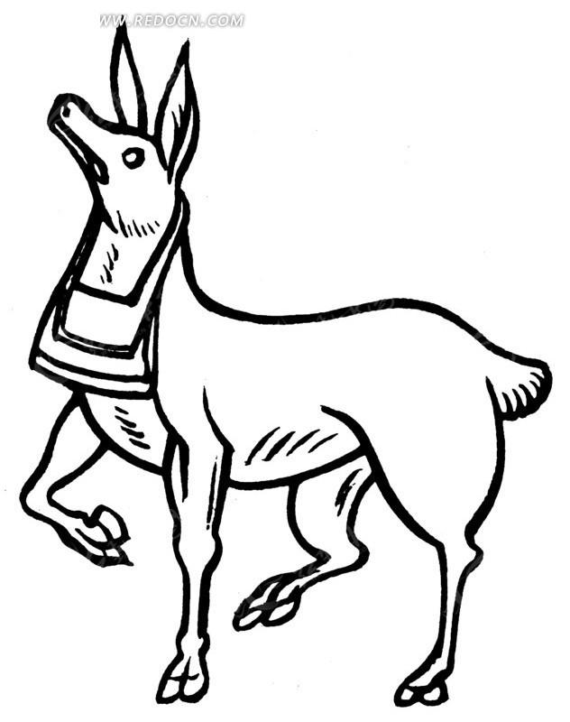 中国古典图案-仰头的抬起右前蹄的动物