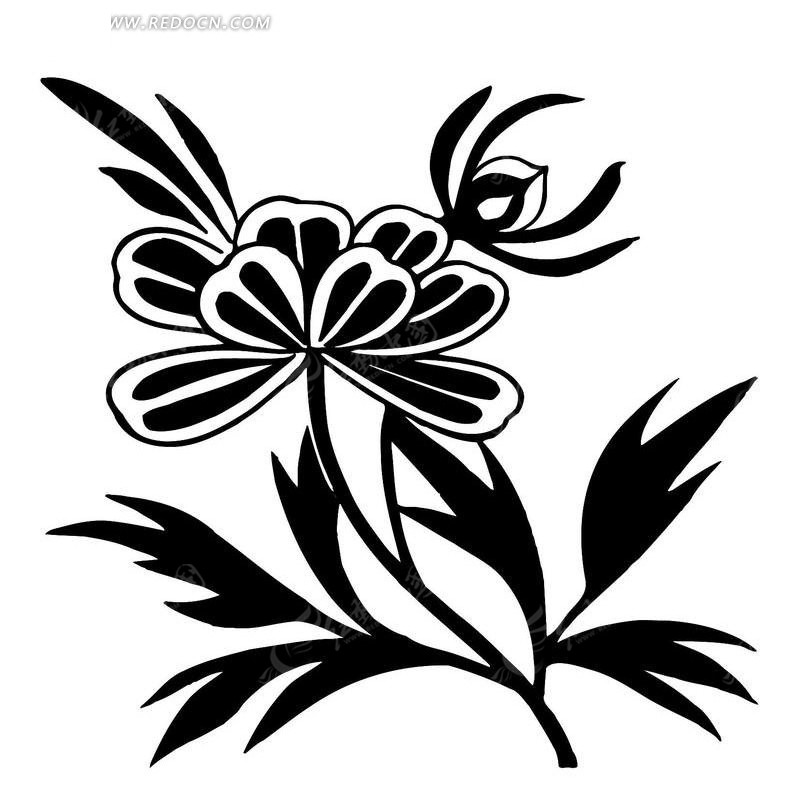 黑白花卉矢量图CDR素材免费下载 编号1470047 红动网