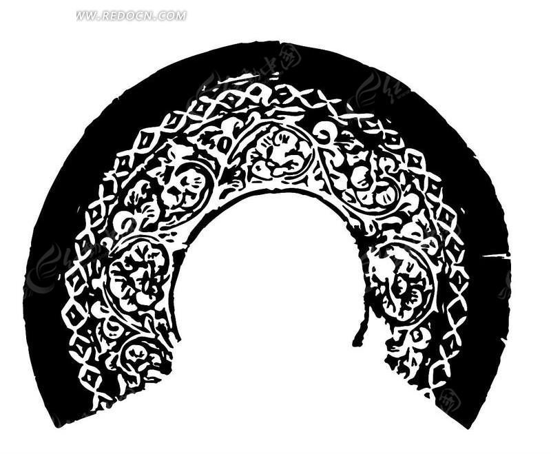 曲枝卷叶纹几何纹构成的缺环古器纹理图;