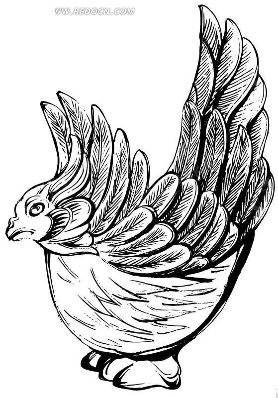 中国古典图案-羽毛飞起来的神鸟