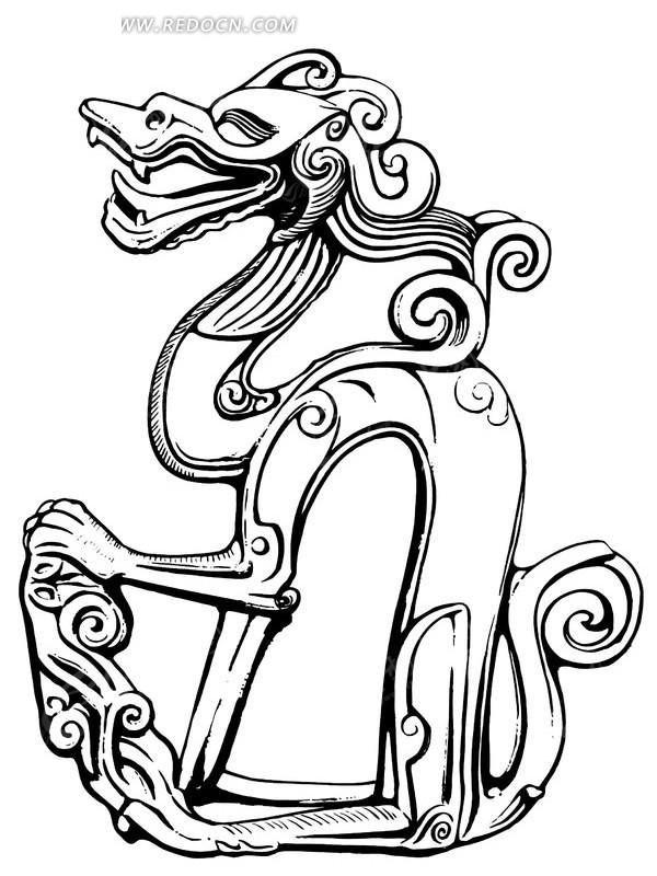古代龙形矢量图案