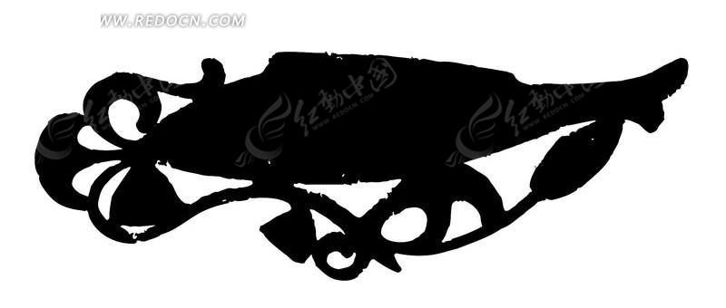 古代鱼形矢量图案图片