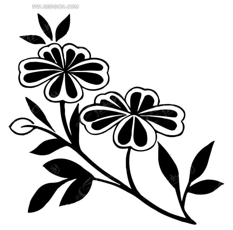 手绘 线条 花卉 枝叶 花朵 叶子 传统图案 矢量素材