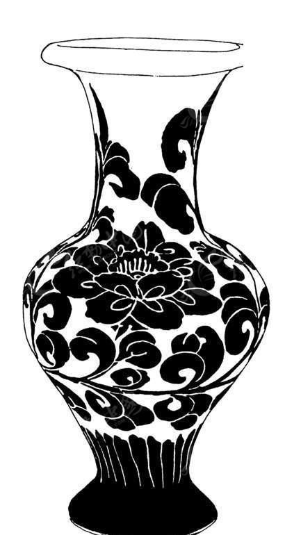 中国传统花纹 莲花图案花瓶
