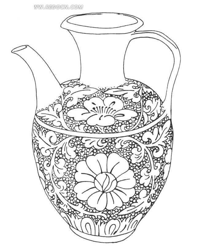 烧水壶手绘效果图