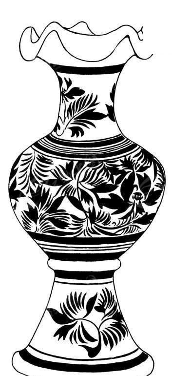 黑白花纹花瓶
