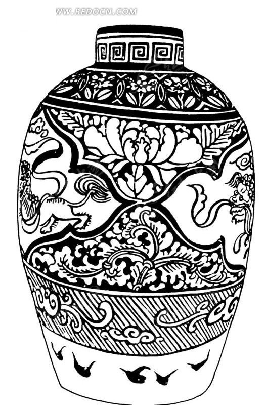手绘陶瓷罐ai免费下载_传统图案素材