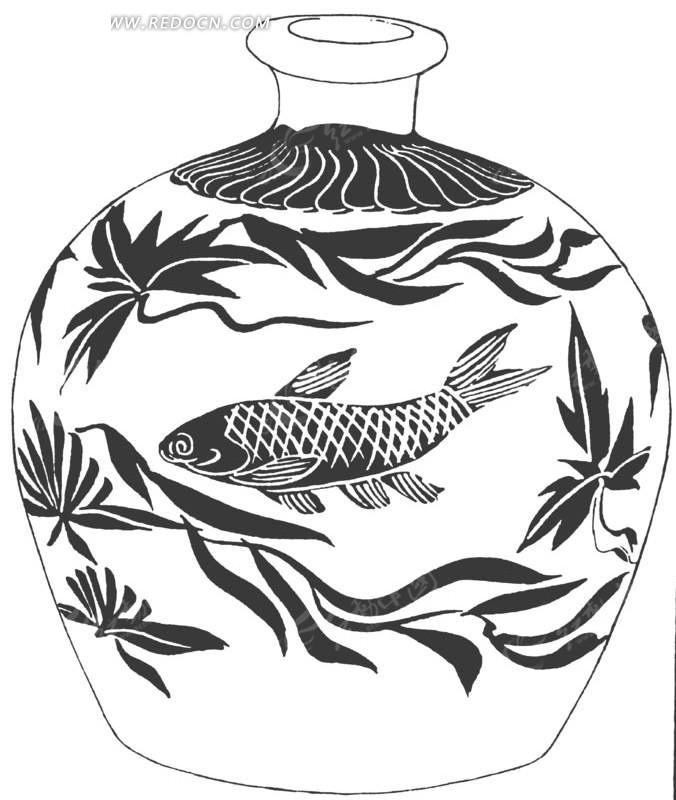 花瓶简笔画花纹对称-传统花瓶带金鱼花纹AI素材免费下载 编号