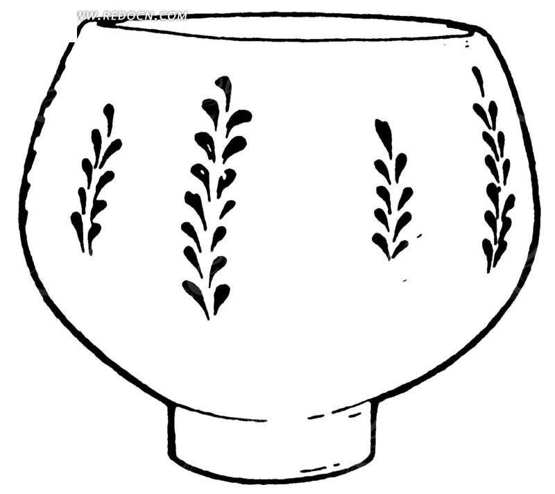 手绘的陶瓷花盆