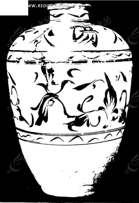 手绘带花纹的陶瓷罐