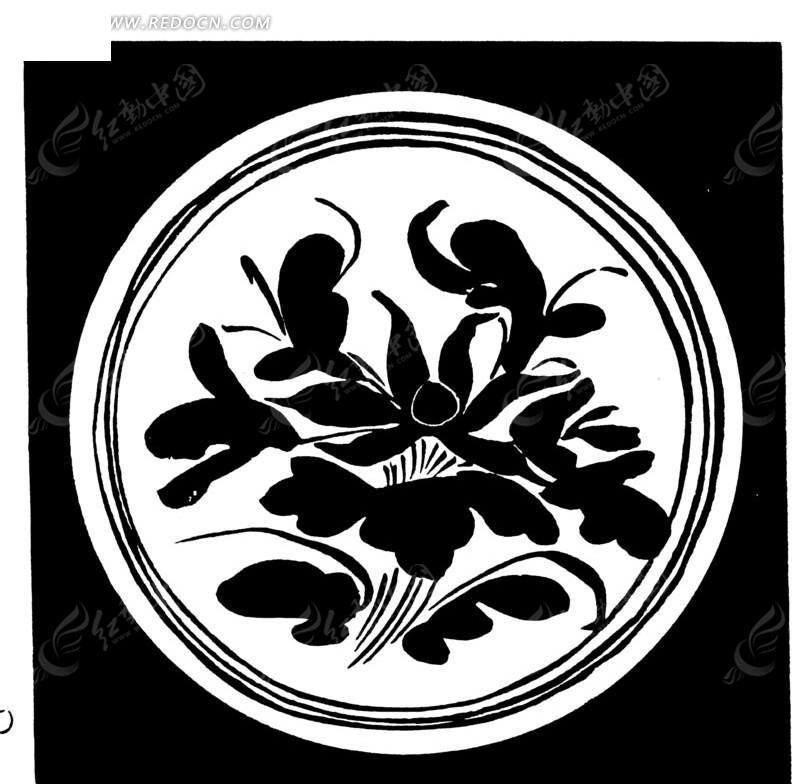 中国古典图案-荷花/荷叶构成的圆形图案图片
