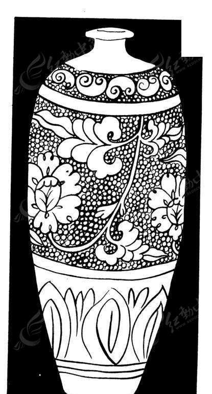 矢量手绘陶瓷花瓶