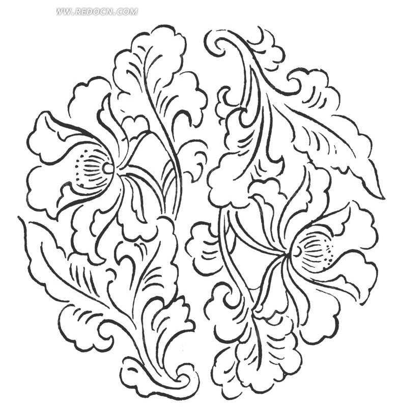 黑白线描牡丹花